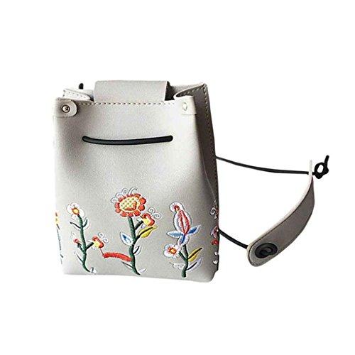 Sac d'épaule Broderie de fleurs femmes fille unique sac à bandoulière fermeture à boucle PU mode Sacs à bandoulière Messenger sac à main Mengonee Gris