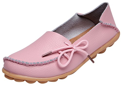 Serene Womens Leather Cowhide Casual Lace Up Flat Driving Shoes Boat Slip-On Loafers (10B(M)US, Pink)