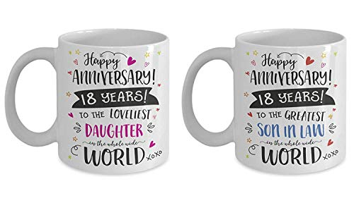 18th Wedding Anniversary Gift Mug Set For Daughter And Son In Law - 18 Eighteen Years Married Eighteenth Year Anniversary Cup (15oz)