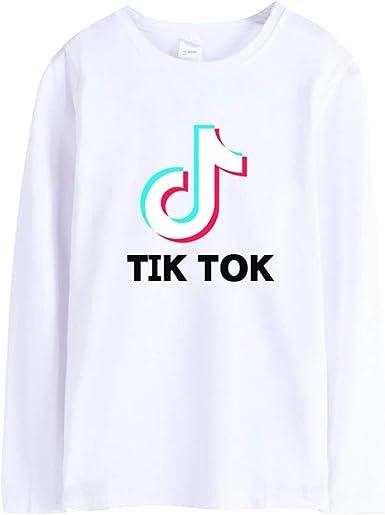 Camisetas de Manga Larga con TIK TOK Imprimiendo para Mujer Hombre Otoño e Invierno Casual Color Sólido tee Shirt Tops Escote Redondo Estilo Deportivo Camiseta Blusa: Amazon.es: Ropa y accesorios