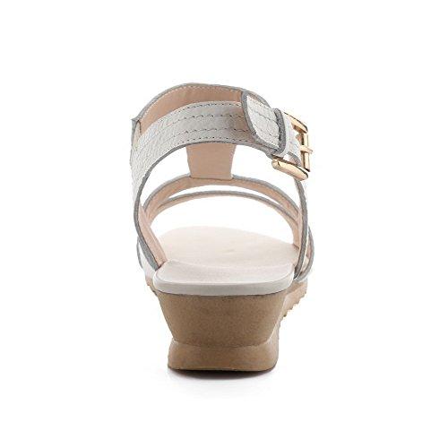 Amoonyfashion Vrouwen Stevige Koeienhuid Lage Hakken Open Teen Gesp Wiggen-sandalen Beige
