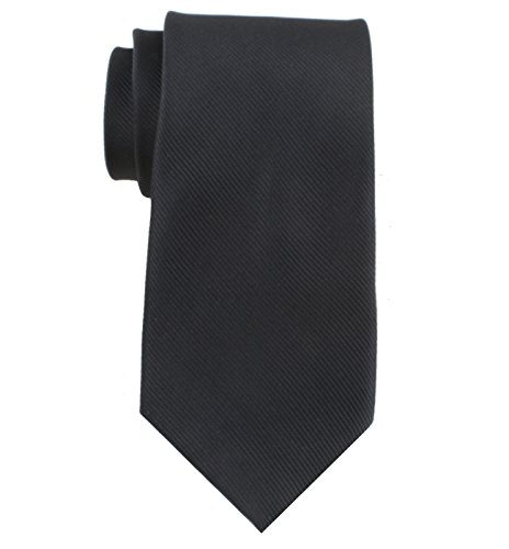 (Levao Solid Color Ties - Multiple Colors Formal Neckties 210105 Black)