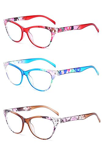 Inlefen 3 Pack Vintage Cat Eye Reading Glasses Flower pattern frame Eyewear for - Reading Half Vintage Moon Glasses