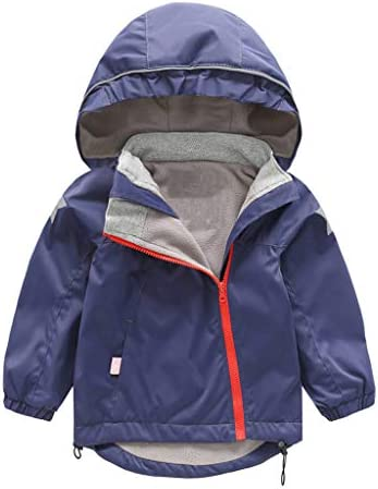 WARMSHOP Kids Baby Girls Boys Hooded Coat Solid Color Jacket Waterproof Outwear Windproof Thick Warm Outfits 1-7 Years