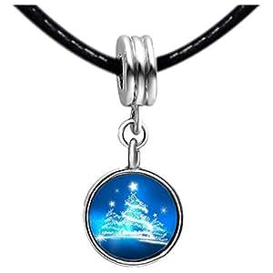 Chicforest Silver Plated christmas tree Photo Peridot Crystal August Birthstone Flower dangle Charm Beads Fits Pandora Charm Bracelet