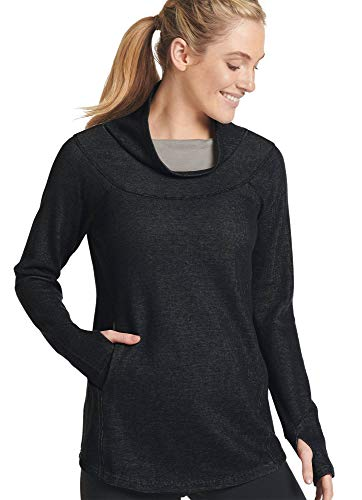 Jockey Women's Sleepwear Ribbed Funnel Neck Tunic, Black/Grey, M