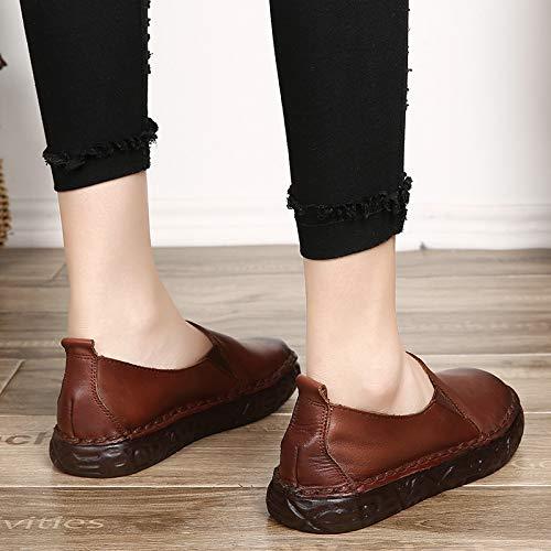 Stitching Flat Donna Eu Lazy colore Dimensione Qiusa On Mary Shoes Jane Soft Nero 40 Da Marrone Slip Scarpe 0qZEw8EF