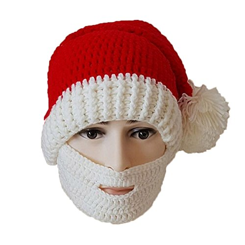 Beard Hat Original Classic Santa Knit Hat Warm Windproof Funny (White) (Beanie Classic White)