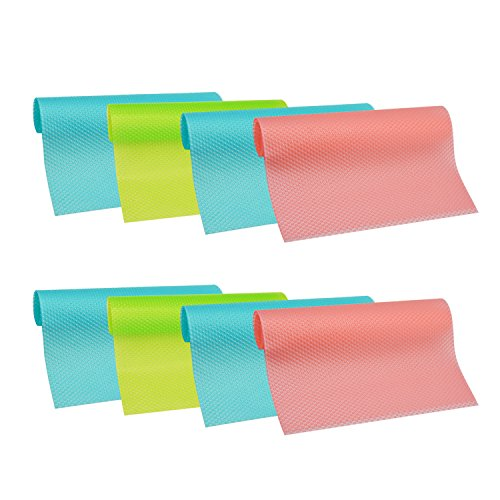 HityTech 8 Pcs Refrigerator Mats, Plastic Non Self-adhesive EVA Shelf Liners Refrigerator Liners Fridge Mats Drawer Table Placemats Pink Green Blue(12