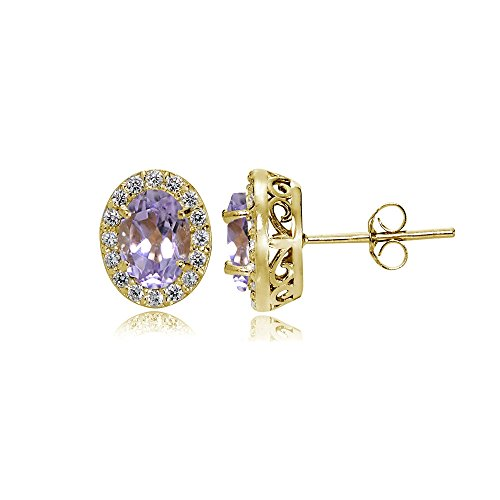 Yellow Gold Flashed Sterling Silver Amethyst and Cubic Zirconia Accents Oval Halo Stud Earrings -