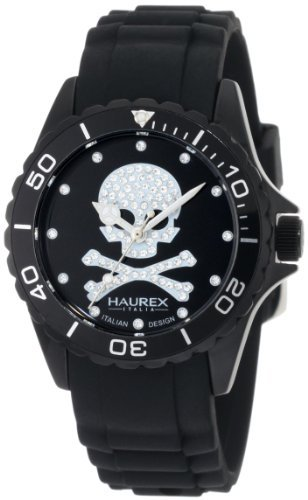 Haurex Italy Women's 1K374DNS Ink Black Dial with Swarovski Crystals Rubber Band Watch by Haurex