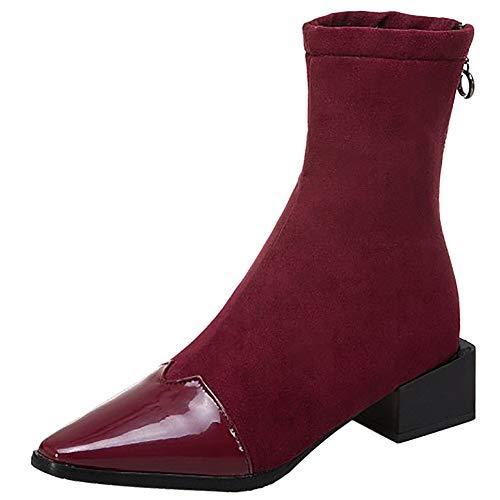 Moda Moda Stivali Donna Rosso Corti COOLCEPT Medio Medio Tacco x7B5a5Hw