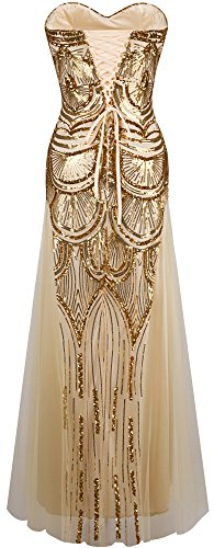 Angel-fashions Womens Sequin Strapless Sweetheart Mesh Lace up Banquet Dress