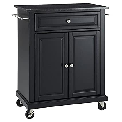 Delicieux Kitchen Island Cart On Wheels With Granite Top Rolling Storage Cabinet ( Black)