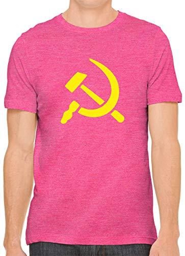 (Yellow Hammer and Sickle Unisex Premium Crewneck Printed T-Shirt Tee, Berry XS)