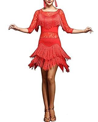 whitewed Lace Fringes Dance Recital Salsa Latin Tango Dress Costume 3/4 Sleeves