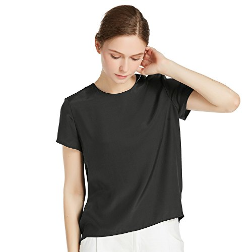 - LilySilk Black Silk Blouses for Women Short Sleeve 100 Pure Mulberry 22 Momme Ladies Silk Tops Button Slit Back Closure S/4-6