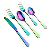 18/8 Stainless Steel Flatware Sets,20-piece Silverware Titanium Plating Knife Fork Spoon Set Dinner Service Tableware Will Not Fade Including Black Rainbow Silver Dishwasher Safe (Rainbow)