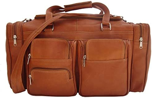 Piel Leather 20 Duffel Bag with Pockets in Saddle