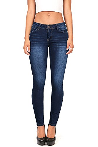Wax Women's Juniors Timeless Low Rise Stretchy Skinny Jeans (9, Dark Denim)
