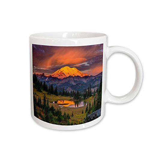 Lake Mt Blue State Park - 3dRose Danita Delimont - Washington - USA, Washington State, Mt. Rainier National Park at sunrise. - 11oz Two-Tone Blue Mug (mug_315090_6)