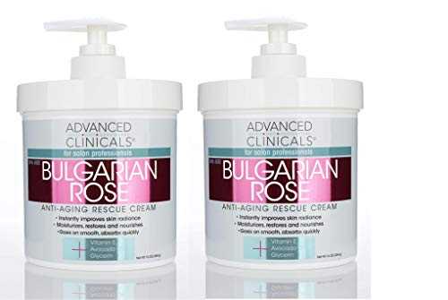 Advanced Clinicals Bulgarian Rose Oil Cream Anti-Aging Rescue for Face, Hands, Neck. Spa Size 16oz (Two - 16oz)
