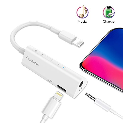 - Lightning to 3.5 mm Headphone Jack Adapter, Fourcase iPhone X/8/7 Plus Earphone Lightning Adapter & Splitter, 2 in 1 Aux Headphone Jack Audio + Charge Cable Adapter, Support iOS 10.3 and Later
