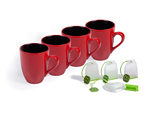 Xtrema Ceramic Red 16-Ounce 4-Pack Mug Set for Coffee, Tea and Other Hot Beverages