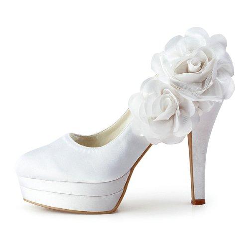 Elegantpark - Zapatos de vestir de satén para mujer Blanco