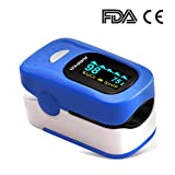 Jumper 500A Fingertip Pulse Oximeter Blood Oxygen Saturation SPO2 Monitor 4 OLED Display with Silicon Cover Lanyard Batteries(Blue)
