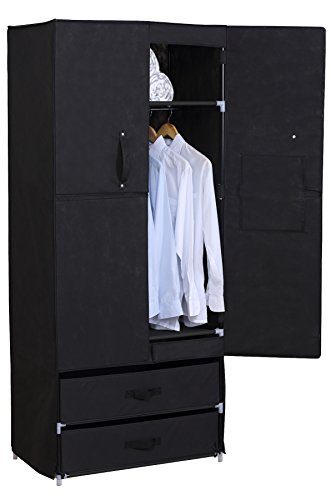 WOLTU Portable Clothes Closet Wardrobe with 2 drawer Clothes Storage with Heavy Duty Doors Cloth Organizer Steel Shoe Rack Black ()