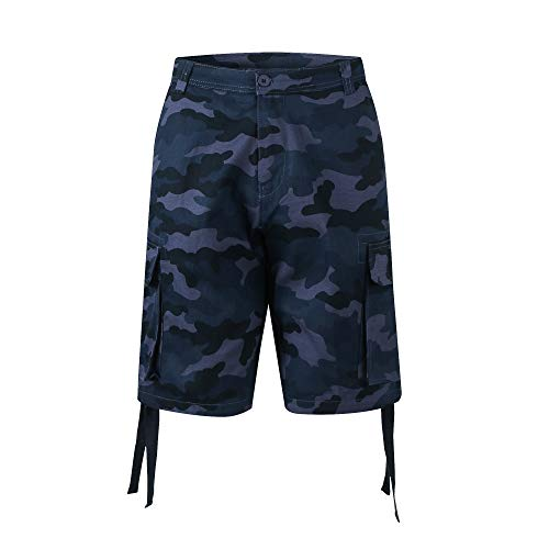 PTSports Mens Big and Tall Camo Cotton Cargo Golf Shorts with Pockets Navy Small