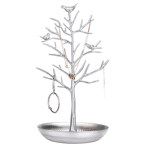 elry Organizer, Silver Birds Tree, Jewelry Stand Display for Hanging Earrings,Necklace,Bracelet Rack Tower ()