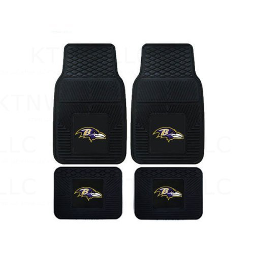 NFL Baltimore Ravens Car Floor Mats Heavy Duty 4-Piece Vinyl - Front and Rear