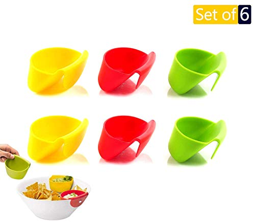 Dip Clip Chip Bowl Cup Car Holder, 6 Colorful Plastic Set Sauce Plate Mini Cups Dipping Holders For Kids, Salsa Bowls Dish Dips Clips For Tomato Salt Sugar, Christmas Party Table Ware Cookie Container