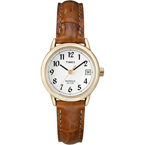 Timex Women's Indiglo Easy Reader Quartz Analog Leather Strap Watch with Date Feature