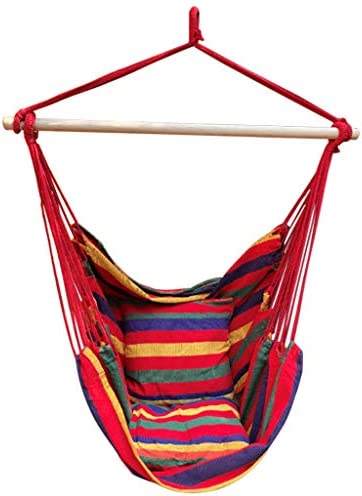 Belone Hammock Chair Hanging Rope Swing with Cotton Fabric for Indoor Outdoor Use Superior Comfort Durability