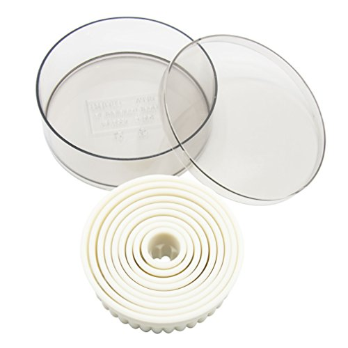 Round Fluted Shaped Cookie Cutter Set 9 Pieces Nylon Cake Cutter Biscuit Cutter Set with Plastic Case (Round Fluted)