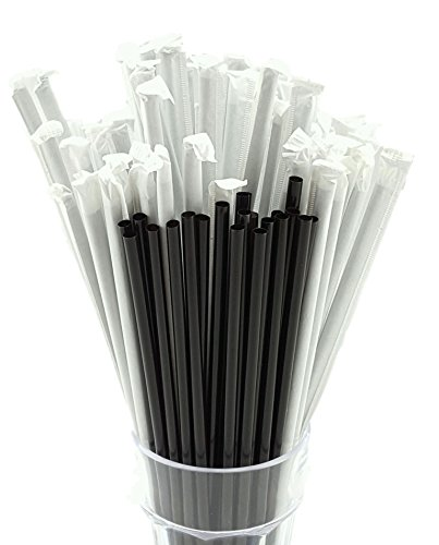 8 Inch Individually Wrapped Black Straws (Box of 500)