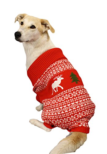 Holiday Reindeer Dog Sweater (Red) - Christmas Dog Sweater (Medium) By Festified