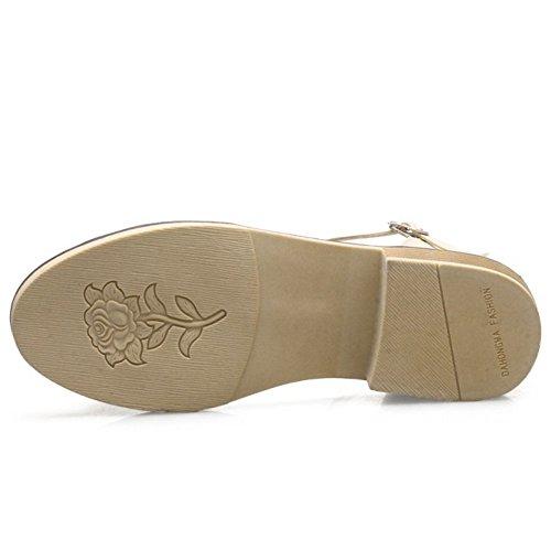 TAOFFEN Mujer Casual Correa de Tobillo Hebilla Tacon Verano Sandalias Mujer Bowknot Zapatos Beige