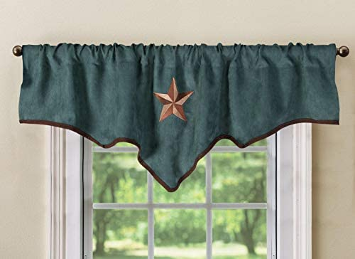Luxury Texas Western Embroidery Star Suede Valance Curtain Panel – 60 x18 Turquoise
