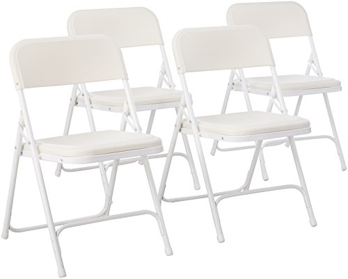 National Public Seating 800 Series Steel Frame Premium Light Weight Plastic Seat and Back Stacking Folding Chair with Double Brace, 480 lbs Capacity