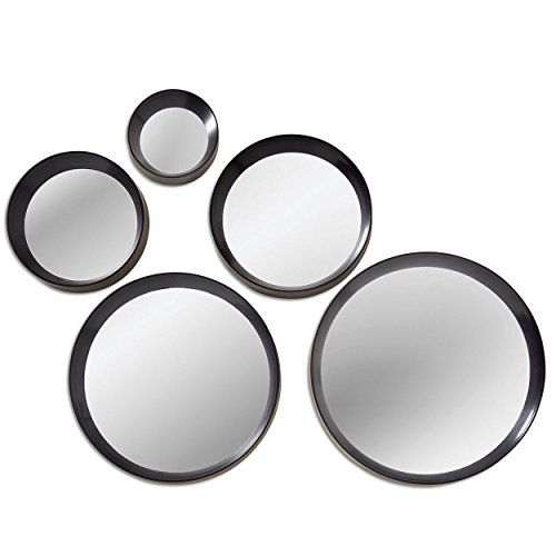 The Urban Chic Round Porthole Mirrors, 5 Piece Set, Black, Glass, 10-4', By Whole House Worlds