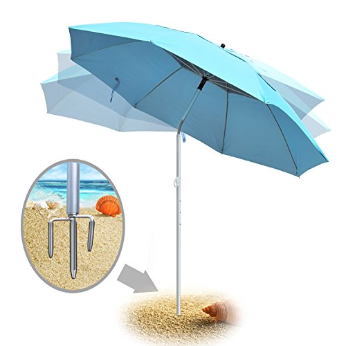 Portable Sun Shade Umbrella, DoerDo 360 Degree Inclined All Direction For All-Weather, With Floor Insert Tool, Heat Insulation, Antiultraviolet , Used For Garden, Beaches, Camping, Fishing