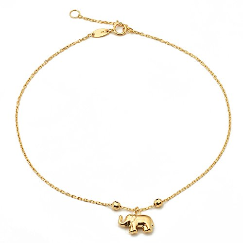 LoveBling 10K Yellow Gold .50mm Diamond Cut Rolo Chain with Elephant Charm Anklet Adjustable 9