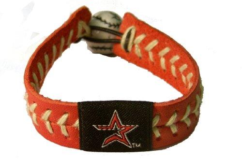 GameWear Houston Astros Bracelet Team Color Baseball Red Leather Sand Thread ()