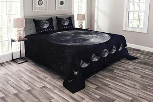 Lunarable Moon Phases Bedspread Set Queen Size, Giant Moon on The Starry Night Sky Eclipse Movement Celestial Science, Decorative Quilted 3 Piece Coverlet Set with 2 Pillow Shams, Indigo Black Grey ()