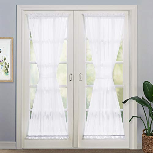 NICETOWN Door Window Sheer for Kitchen - Voile Glass Door Curtain Panel, Long Door Window Drape with Bonus Tieback, 60
