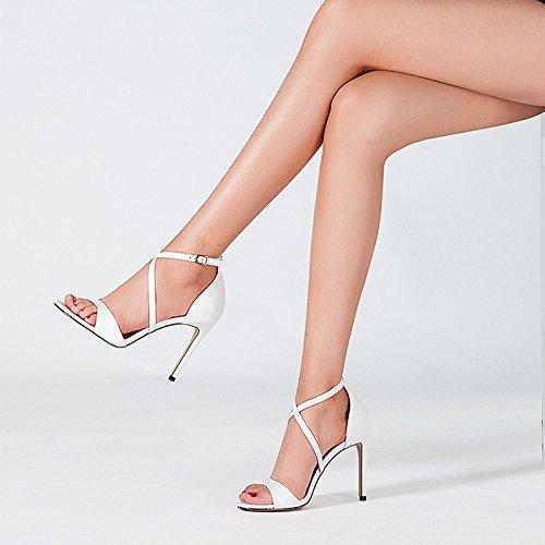 Aguja 5 Blanco color 4 Tamaño Abierta Hebilla 2 uk Eu Punta 35 Mujer Sexy Jianxin Cuero De Sandalias Tacones Verano Zapatos us Mujeres nRXO6